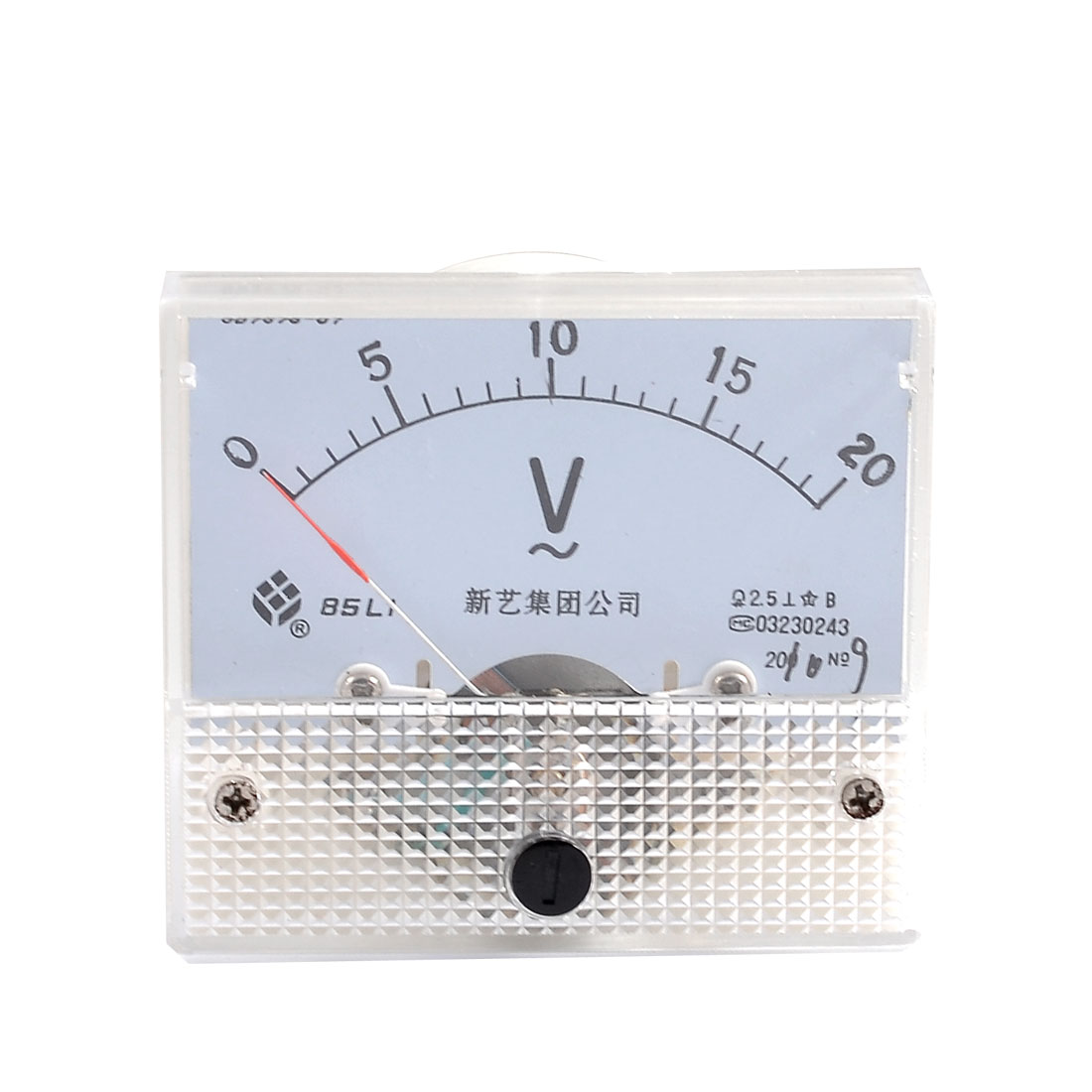 Beige Screw Mounting Head Voltage Test AC 20V Analog Volt Meter Panel