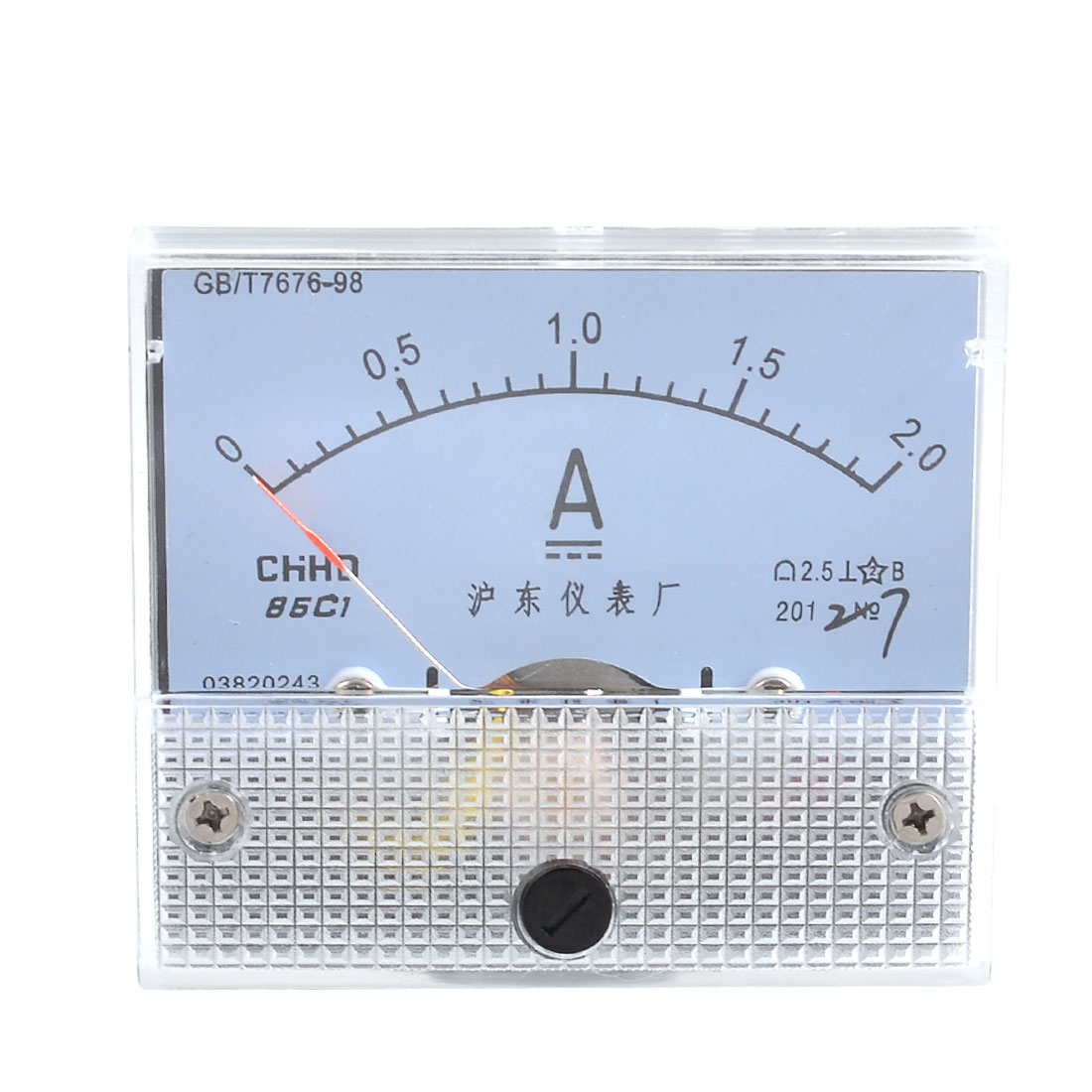Screw Mounted Class 2.5 Accuracy DC 2A Analog Ampere Meter Panel