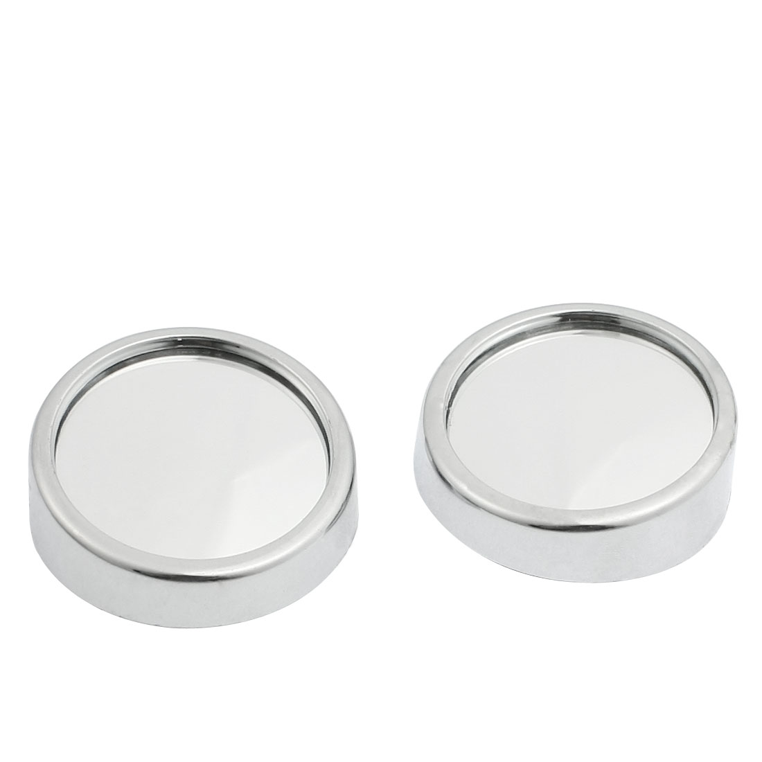 "2 Pcs Adhesive 1.8"" Round Car Side Rearview Blind Spot Mirrors Silver Tone"