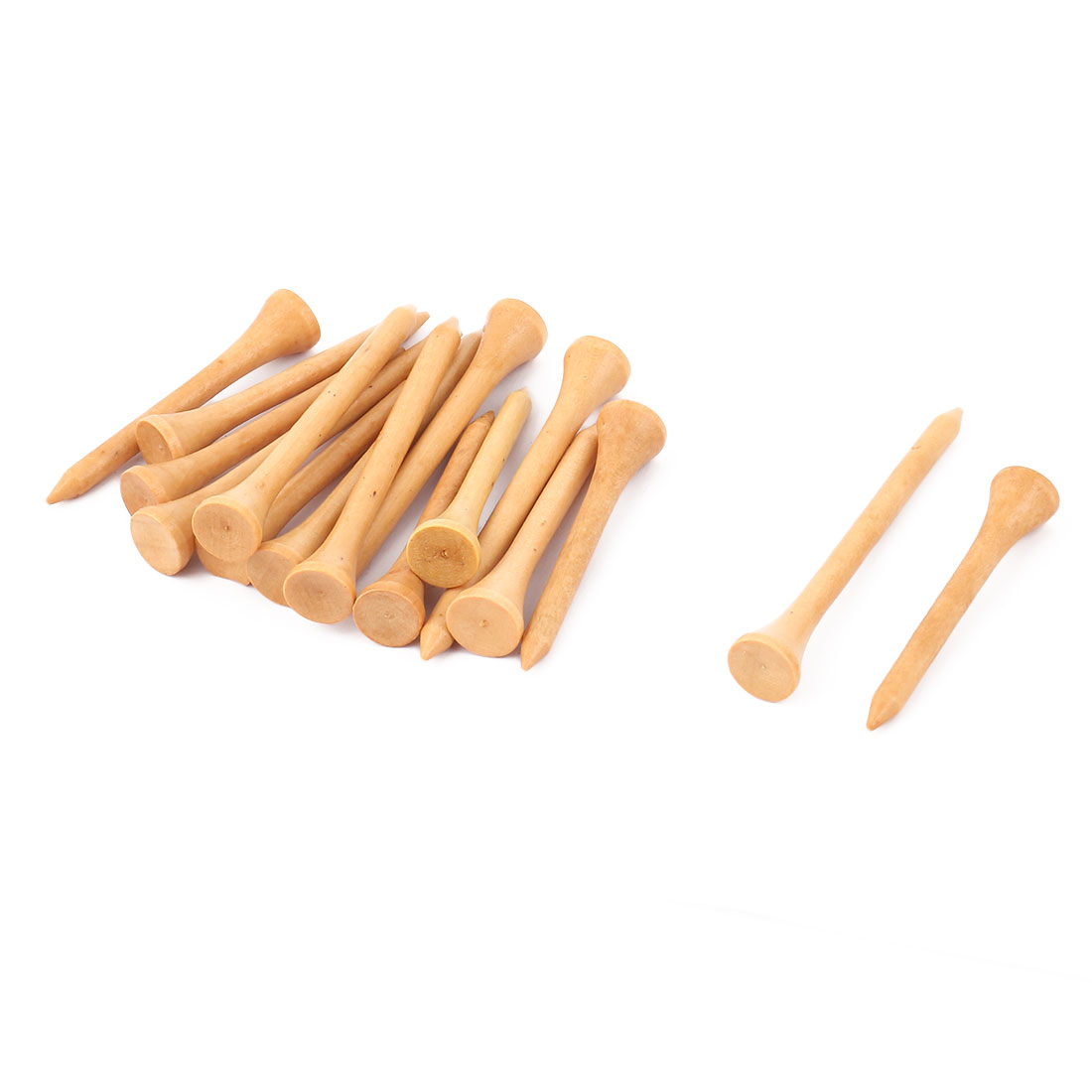 16 Pcs 56mm Beige Wooden Zero Friction Golf Tee Accessory