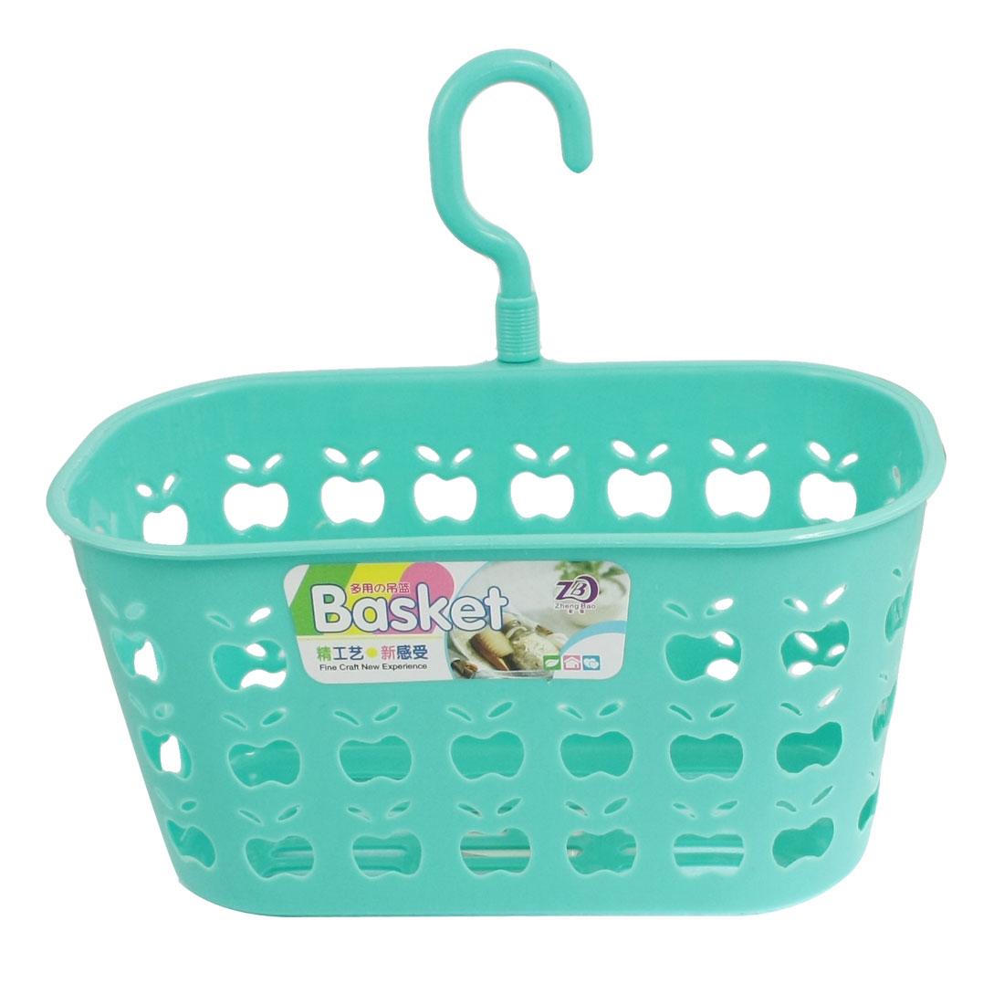 Bathroom Laundry Room Swivel Hook Perforated Plastic Basket Holder Cyan Blue