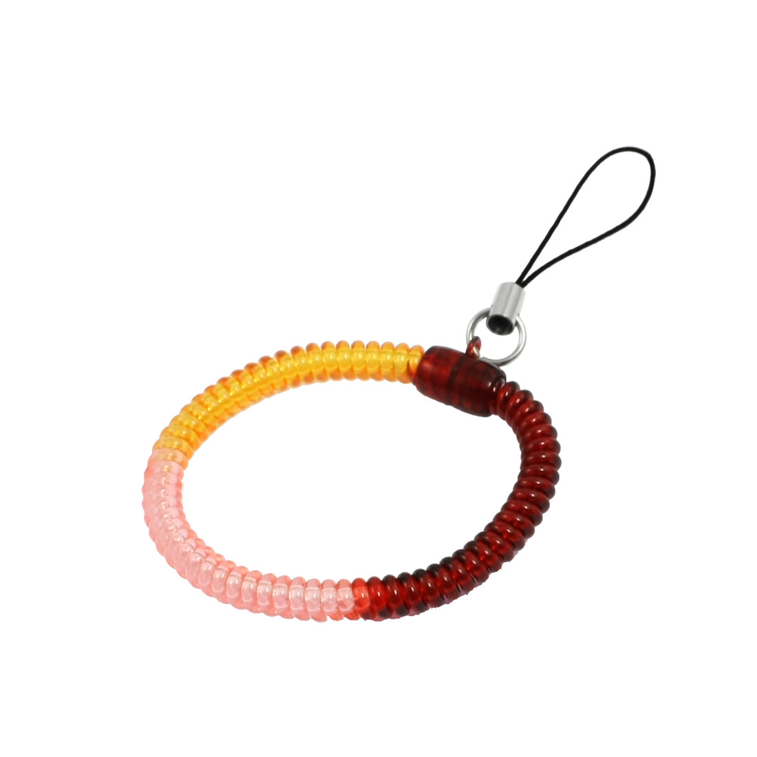 Pink Orange Red Plastic Flexible Coiled Phone Lanyard Wrist Hand Strap