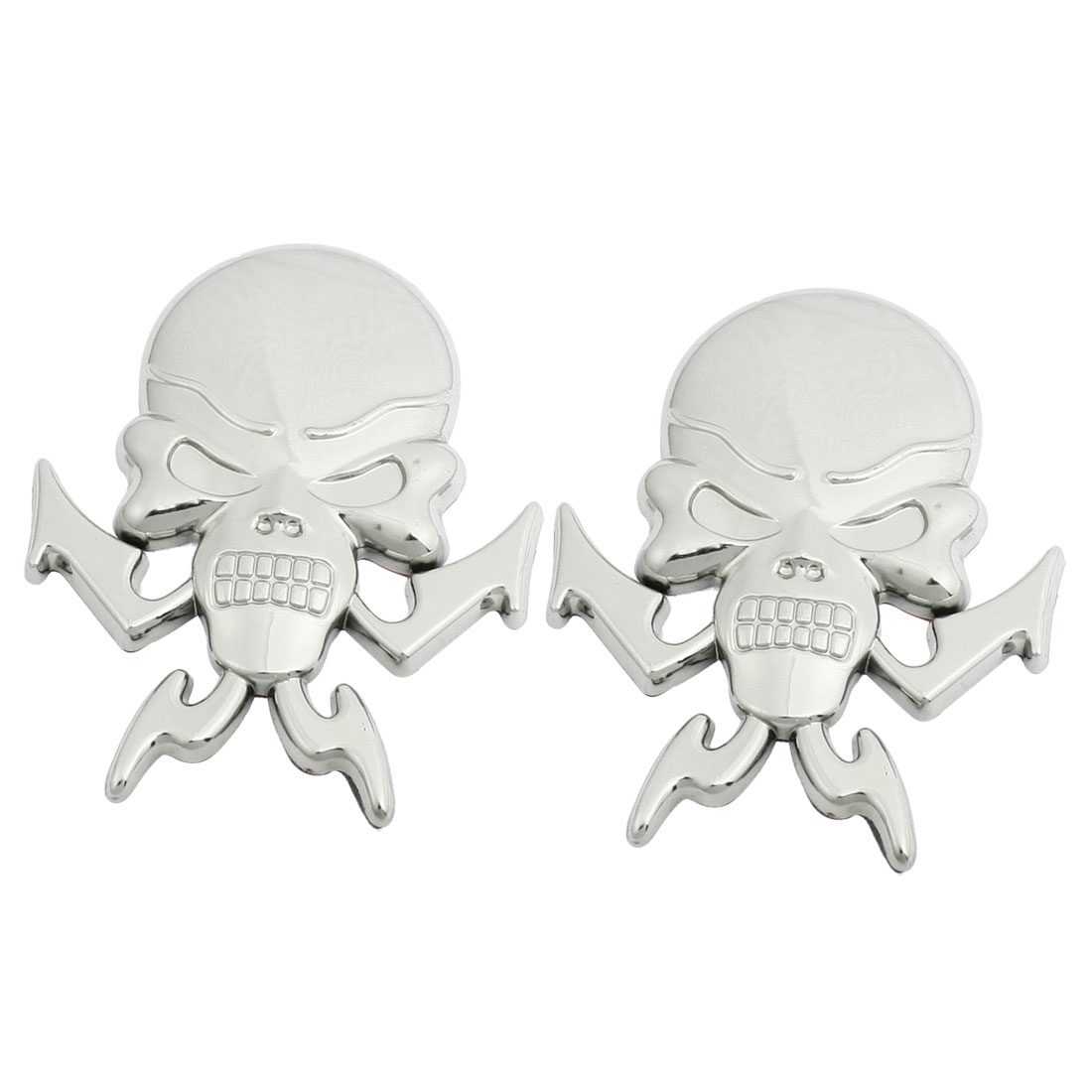 2 Pcs Silver Tone 3D Plastic Skull Car Hood Bonnet Ornament Emblem Sticker