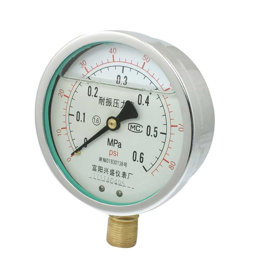 "0-80psi Y-100 1/2""NPT Lower Mount Oil Filled Pressure Gauge"