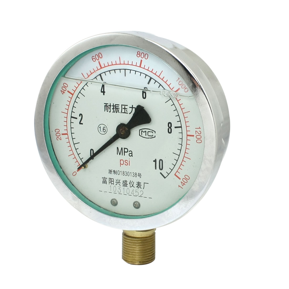 "Y-100 0-10MPa 19mm Thread 1/2""NPT Lower Mount Model Oil Filled Gauge"