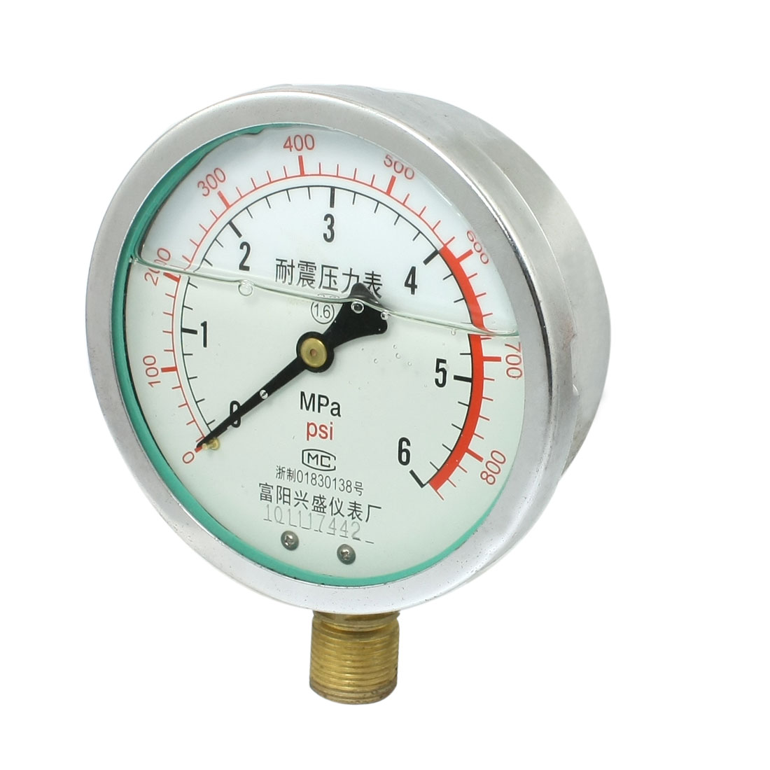 "0-800psi Y-100 1/2""NPT Lower Mount Oil Filled Pressure Gauge"