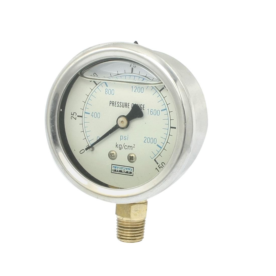 """0-150kgf/cm2 Y-60 1/4""""PT Lower Mount Oil Filled Pressure Gauge"""