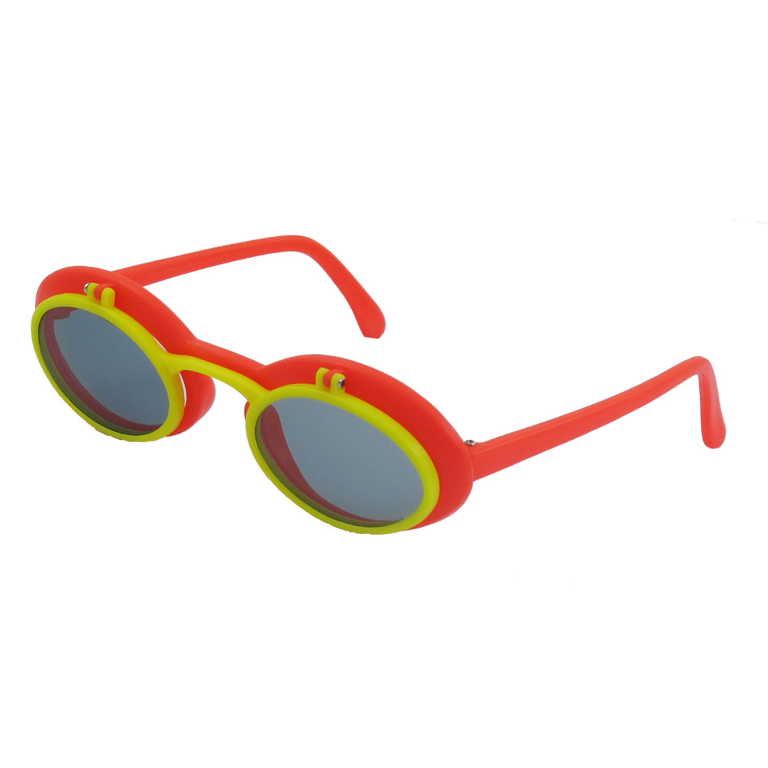 Full Frame Orange Red Arms Dual Layer Plastic Sunglasses for Children