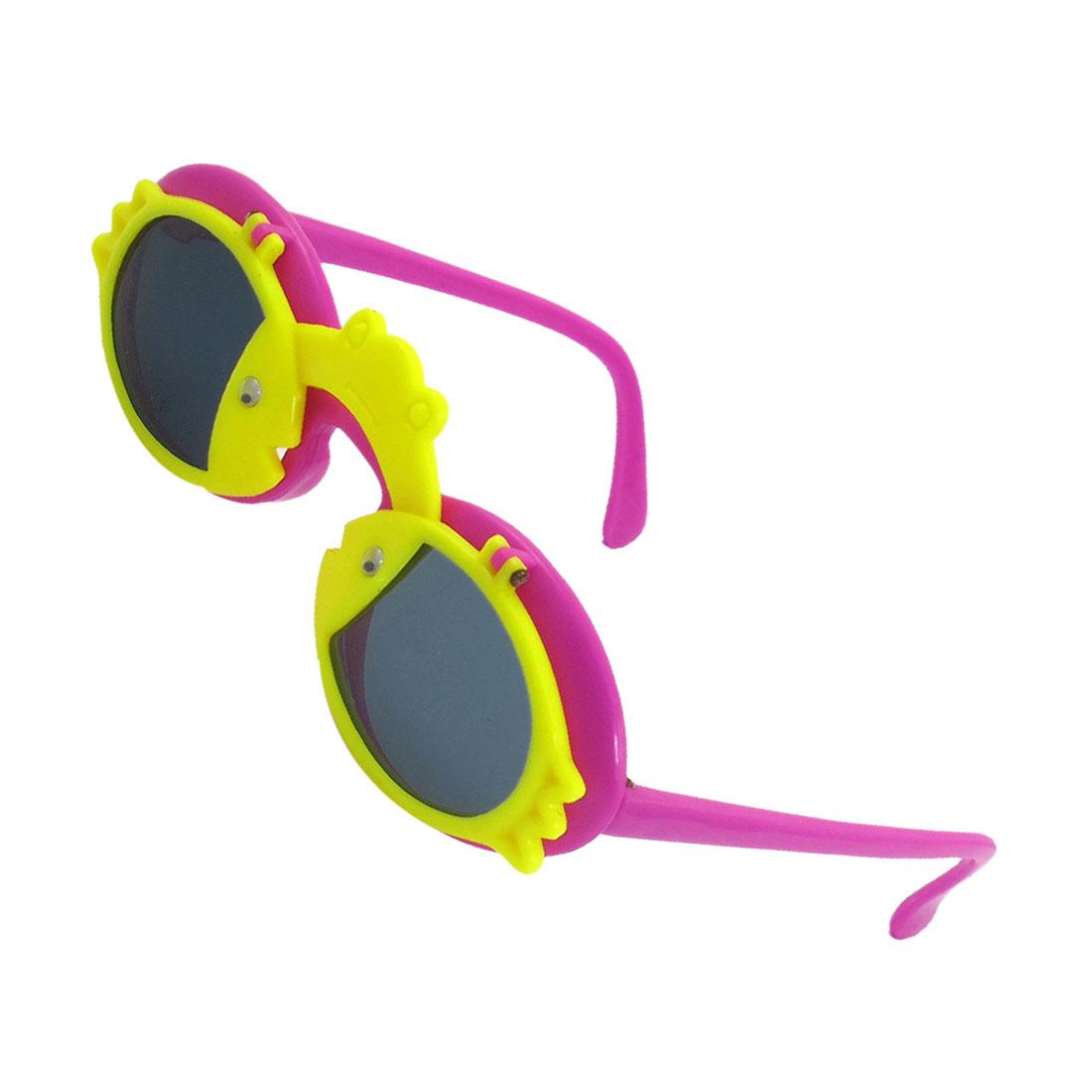 Kids Children Fuchsia Arms Plastic Frog Fishes Decor Flip Up Sunglasses