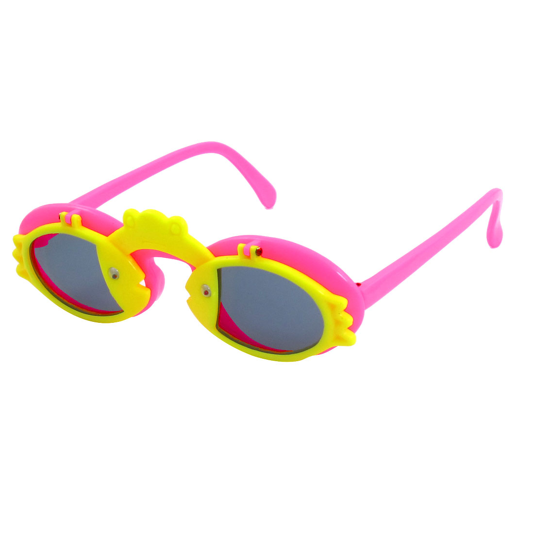 Kids Hot Pink Arms Plastic Frog Fishes Decor Flip Up Sunglasses