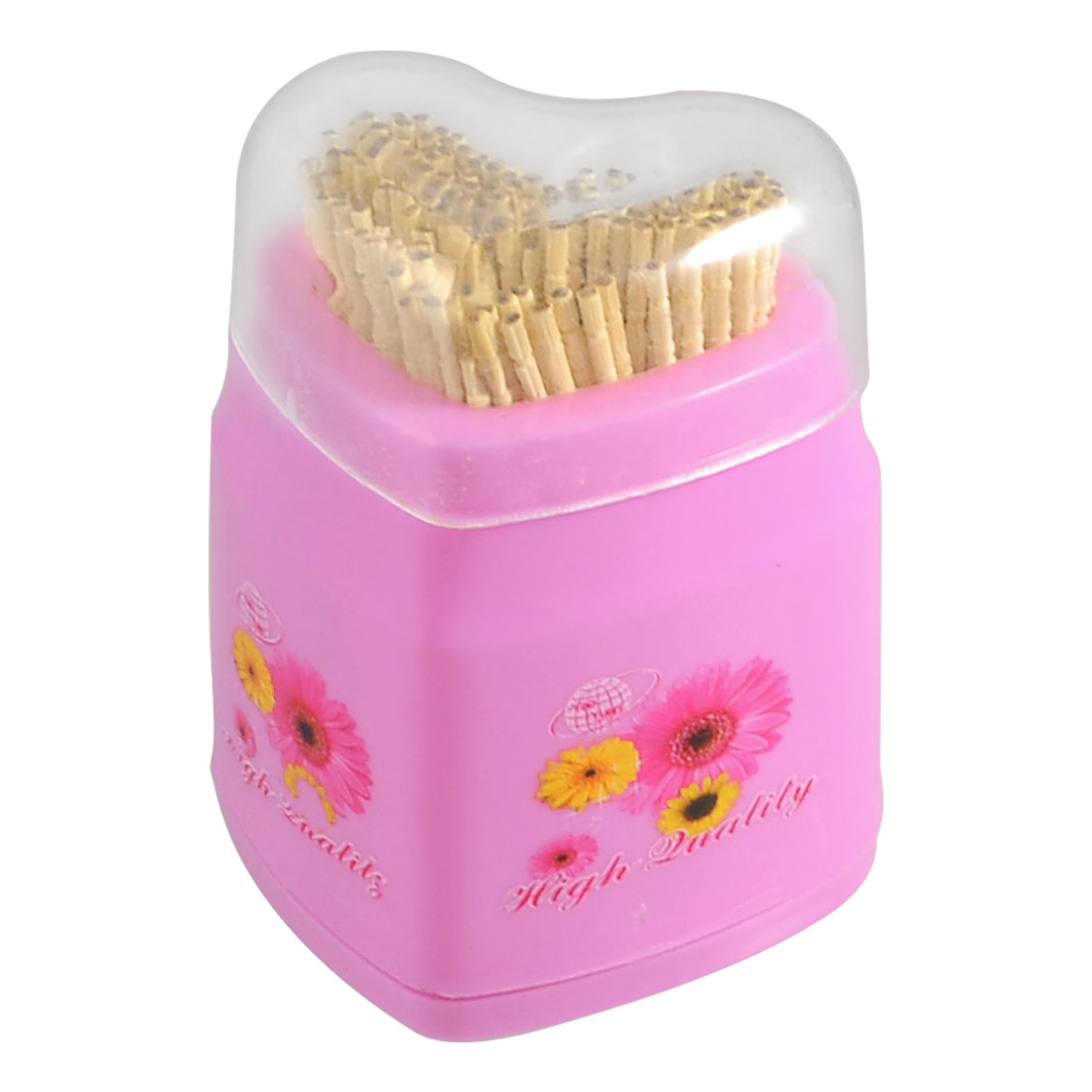 Household Heart Shape Flowers Print Pink Plastic Cover Toothpick Holder