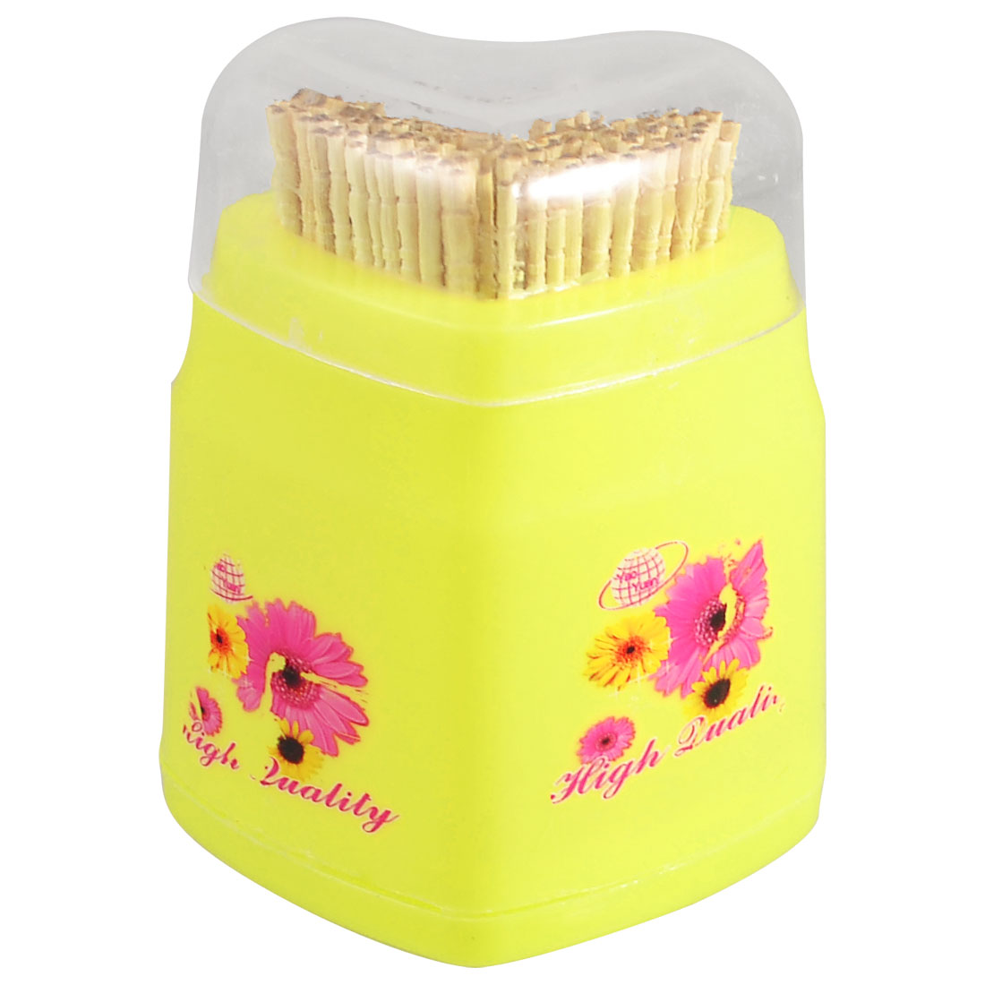 Household Heart Shape Flowers Pattern Yellow Plastic Shell Toothpick Holder