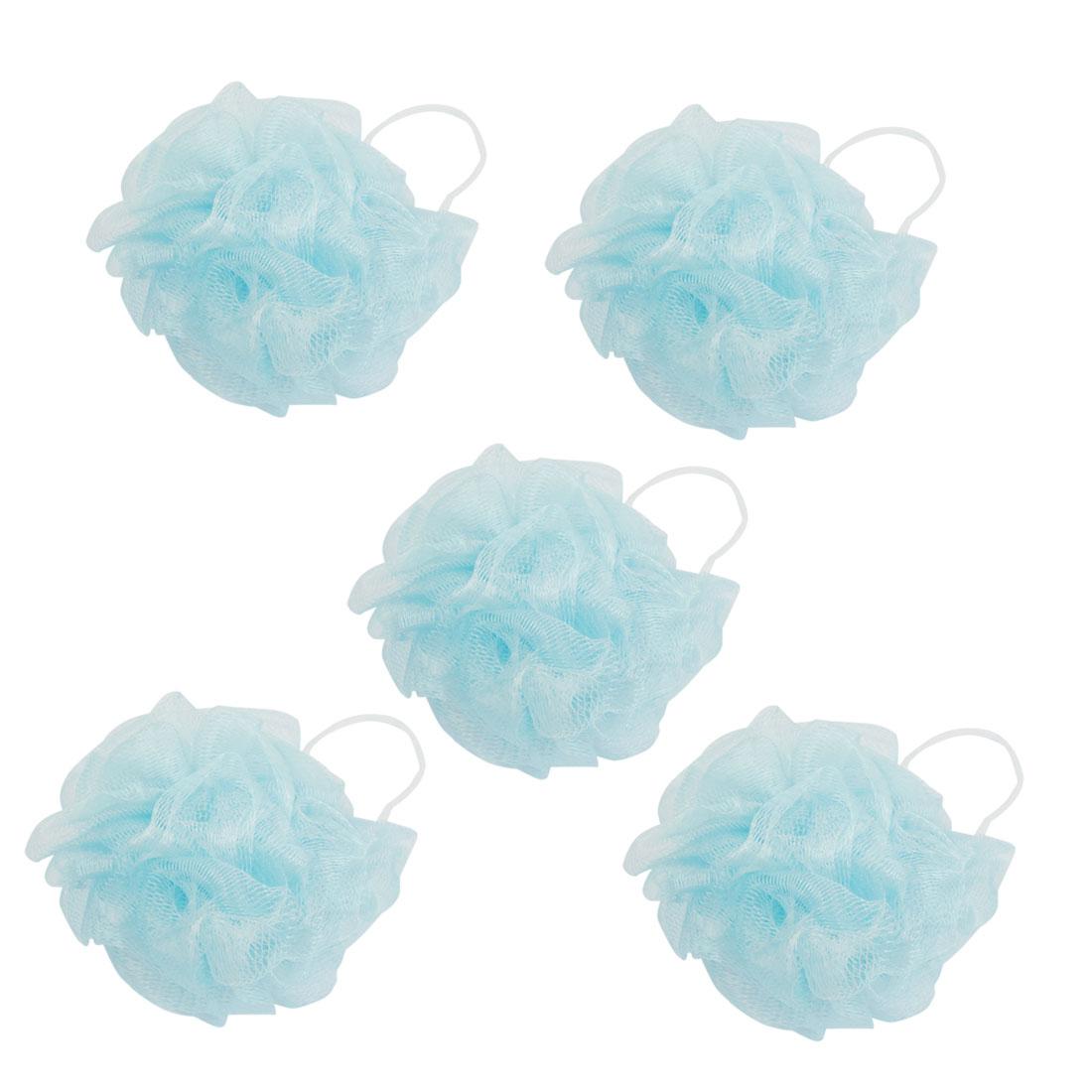 Bathroom Body Shower Ball Shaped Blue Nylon Mesh Nets Pouf 5 Pcs