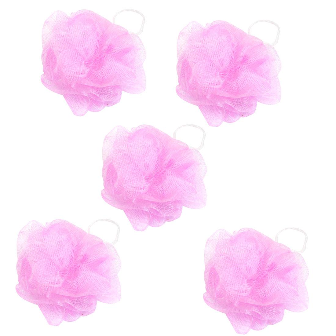 Bathroom Ball Shape Pink Nylon Mesh Net Pouf Shower 5 Pcs