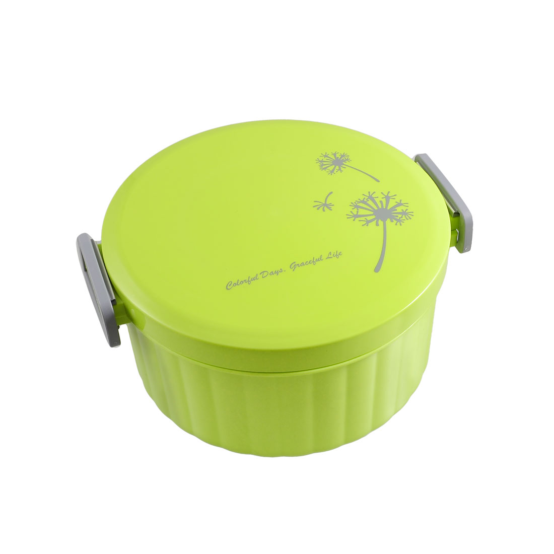 Dandelion Print Lime Green Plastic Round Lunch Box Food Storage Container