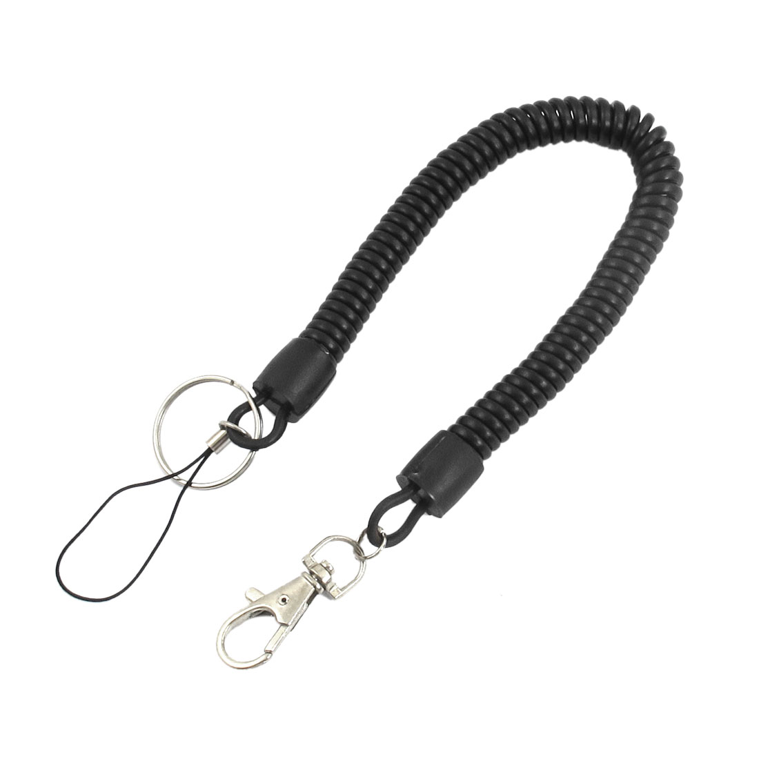 Key Safety Black Plastic Flexible Spring Coil Metal Ring Keychain