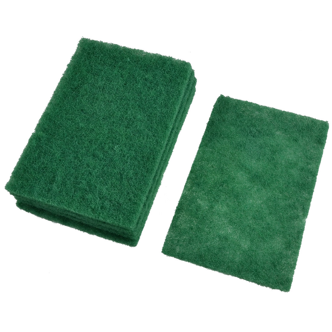 Kitchenware Rectangle Green Sponge Bowl Dish Scrub Cleaning Pad 5 Pcs