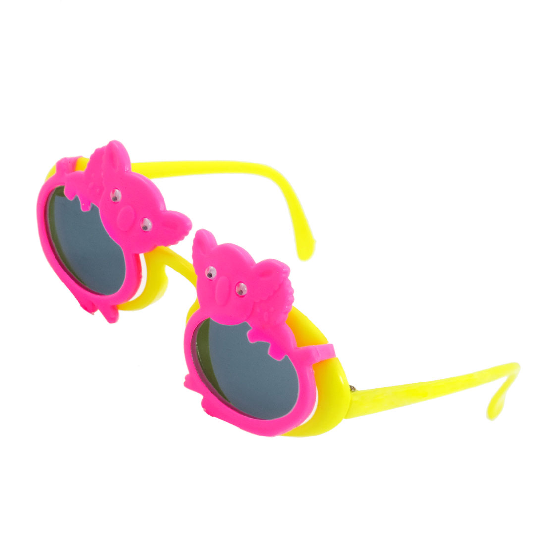 Children Koala Accent 2 Layers Yellow Arms Plastic Flip Up Sunglasses