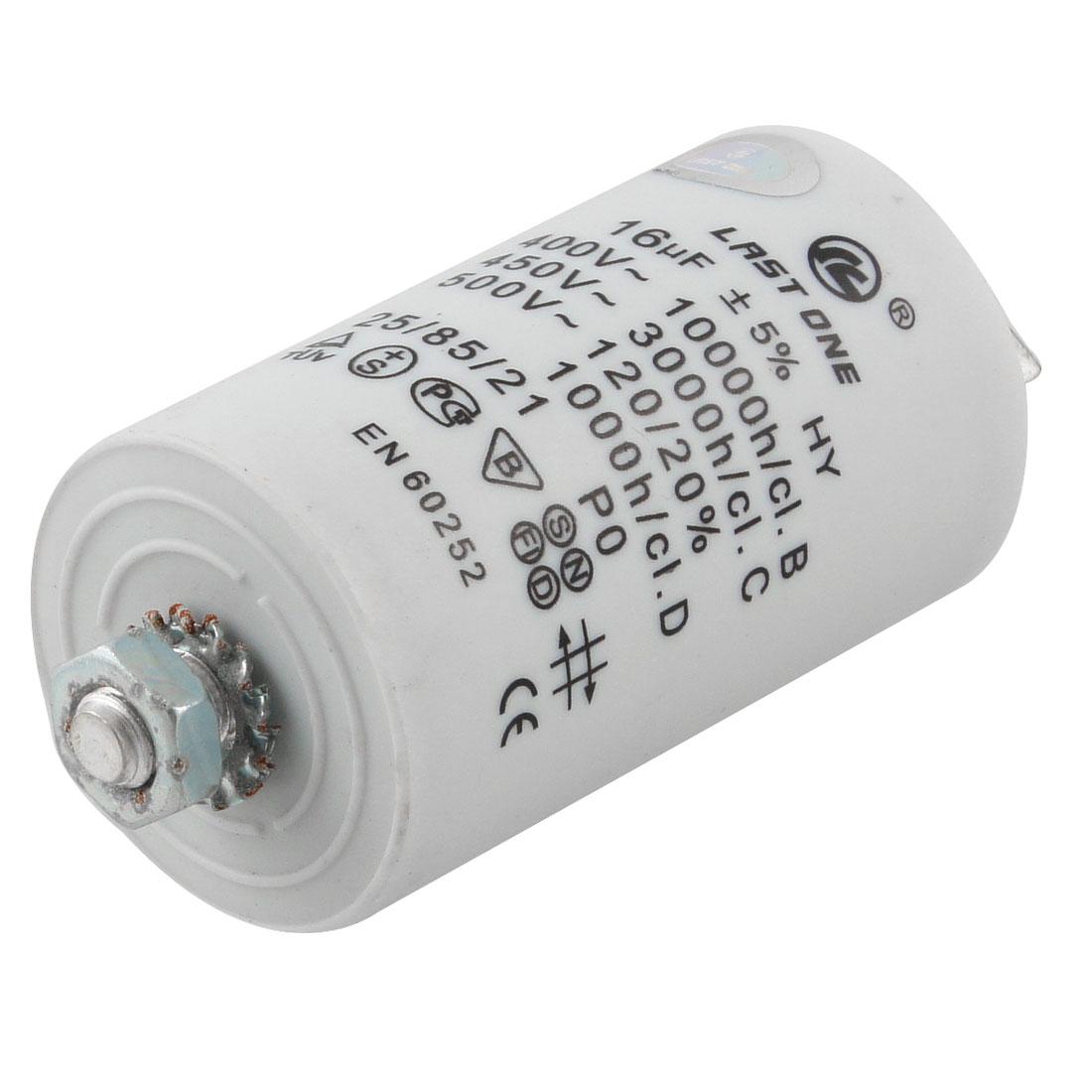 Washing Machine AC 450V 16uF 8mm Thread Non Polar Motor Running Capacitor