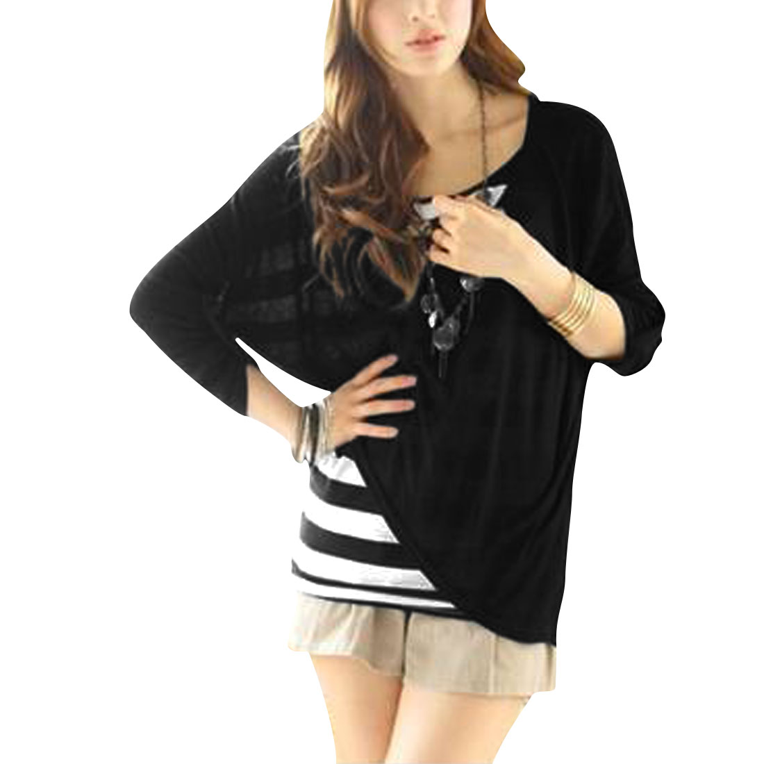 Women Black Scoop Neck Pullover Long Sleeve Casual Loose Summer Shirt XS