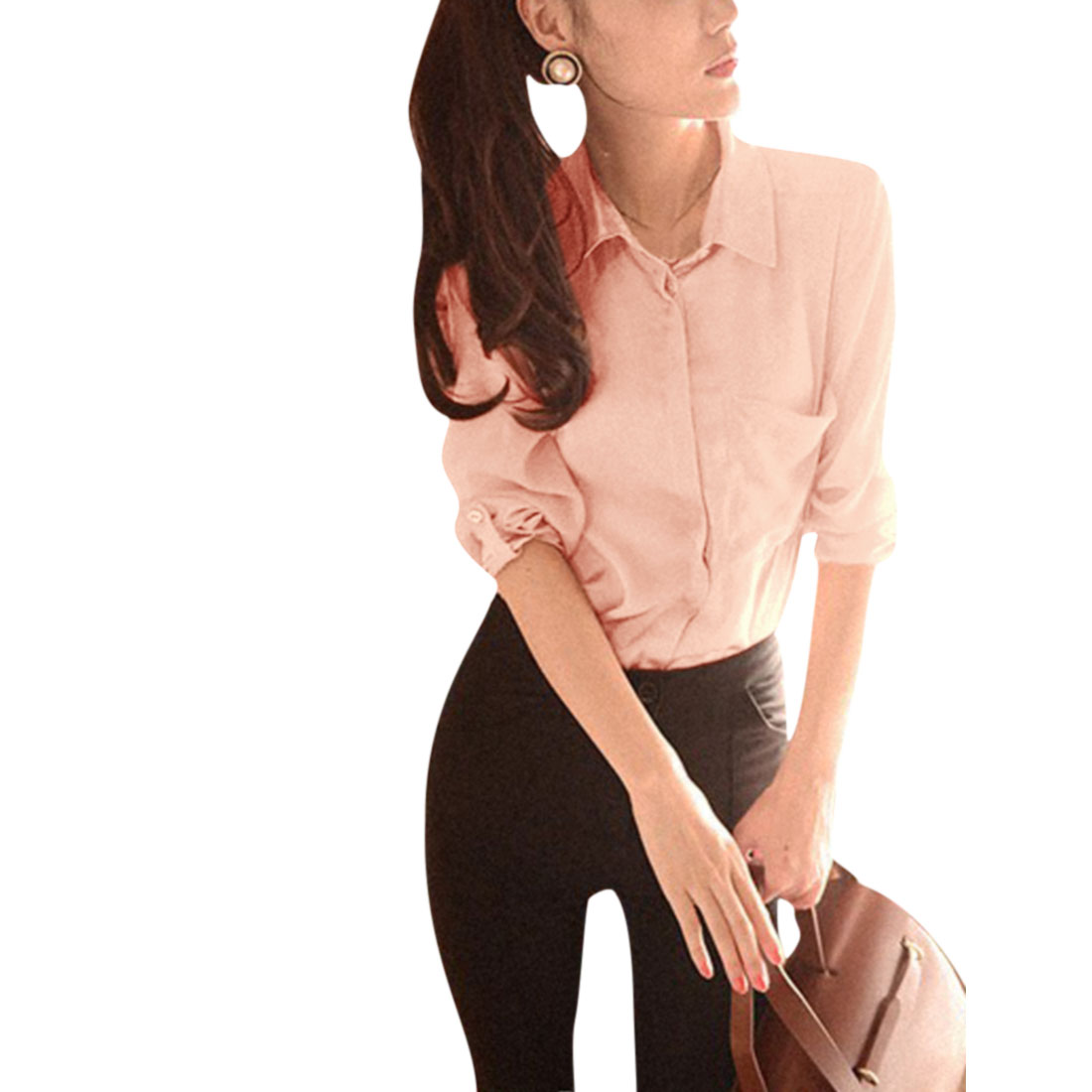 Ladies Pink Long Sleeves Chiffon Single Breasted Side Pocket Blouse XS