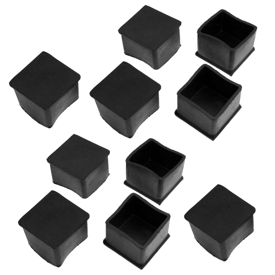 10 Pcs Black Rubber Square 40mm x 40mm Table Chair Leg Protective Foot Cap