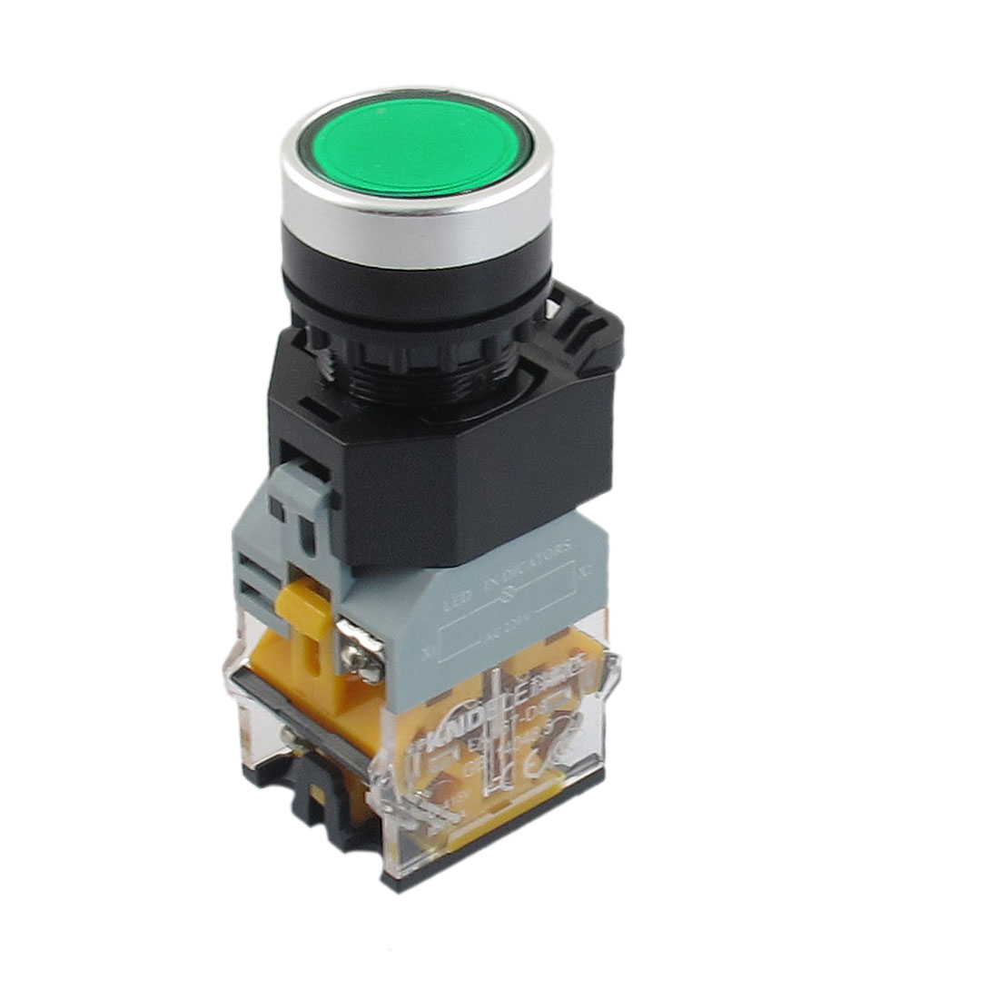 AC 220V Green LED Light Momentary Push Button Switch 22mm 1 NO 1 NC