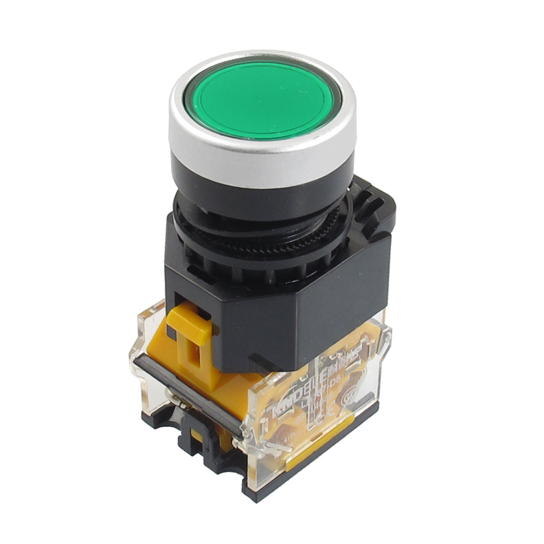 415V 10A Green Sign Momentary Push Button Switch 22mm 2 NC
