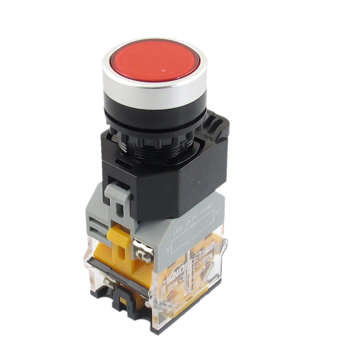 AC 220V Red LED Light Latching Push Button Switch 22mm 1 NO 1 NC