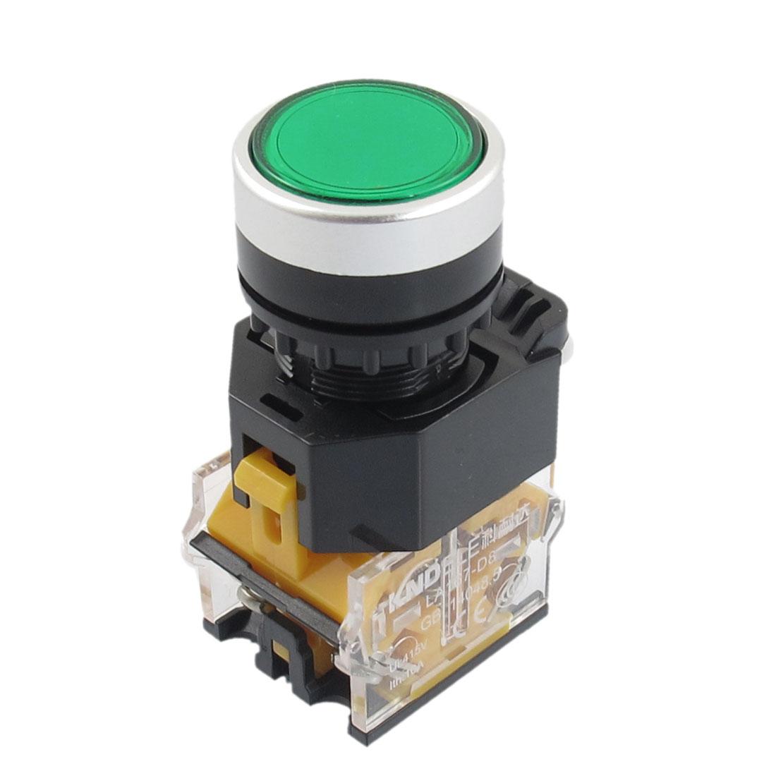 415V 10A Green Sign Latching Push Button Switch 22mm 1 NO 1 NC