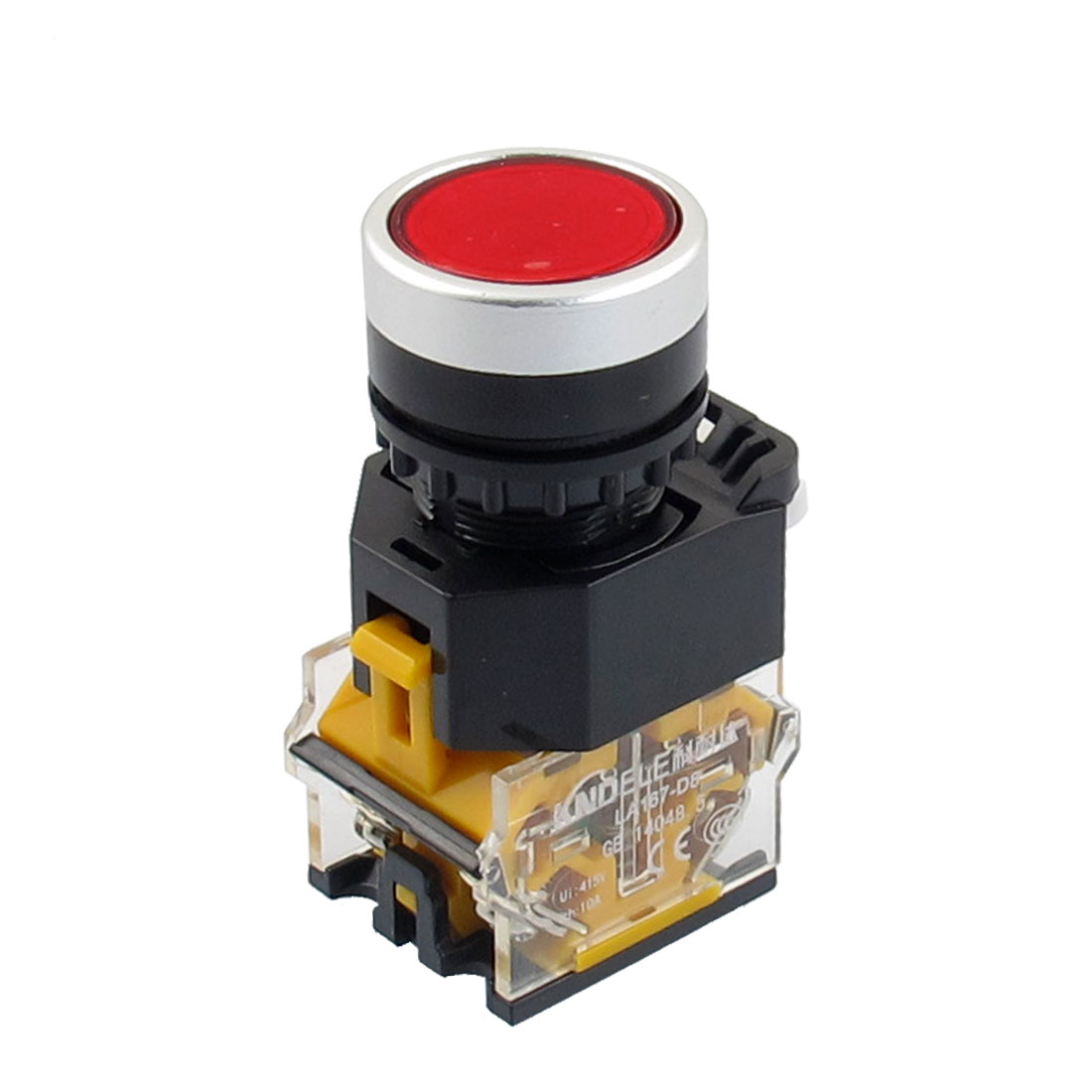 415V 10A Red Sign Latching Push Button Switch 22mm 1 NO 1 NC