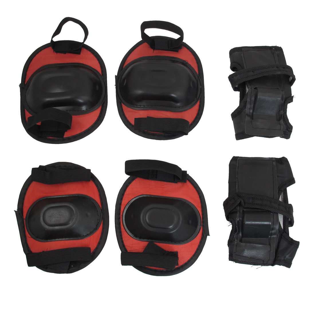Skating Knee Elbow Wrist Support Protector Pads Red Black for Child