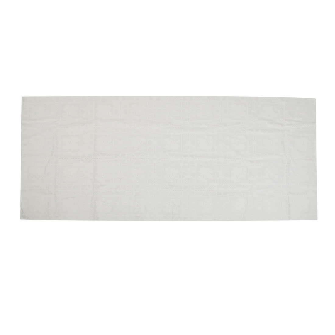 White Rectangle Flower Pattern Waterproof Table Mat Pad 140x58cm