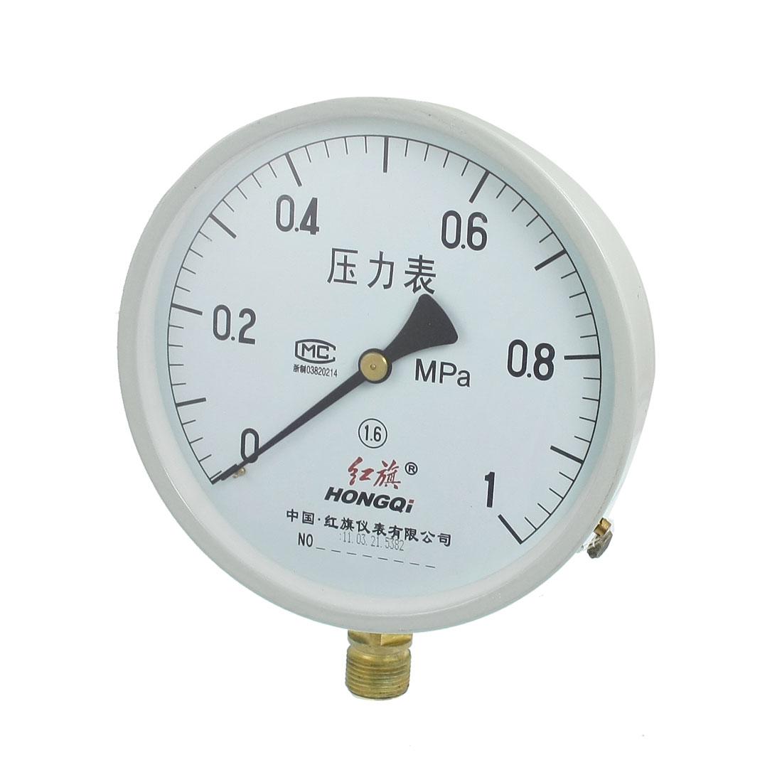 Class 1.6 0-1MPa 20mm Thread Diameter Water Air Pressure Gauge