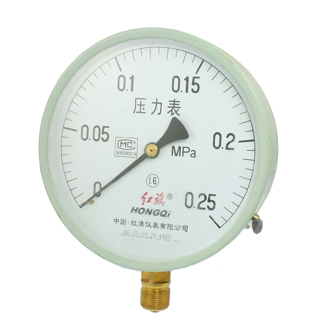 0-0.25MPa 20mm Thread Class 1.6 Compressor Air Pressure Gauge Y-150