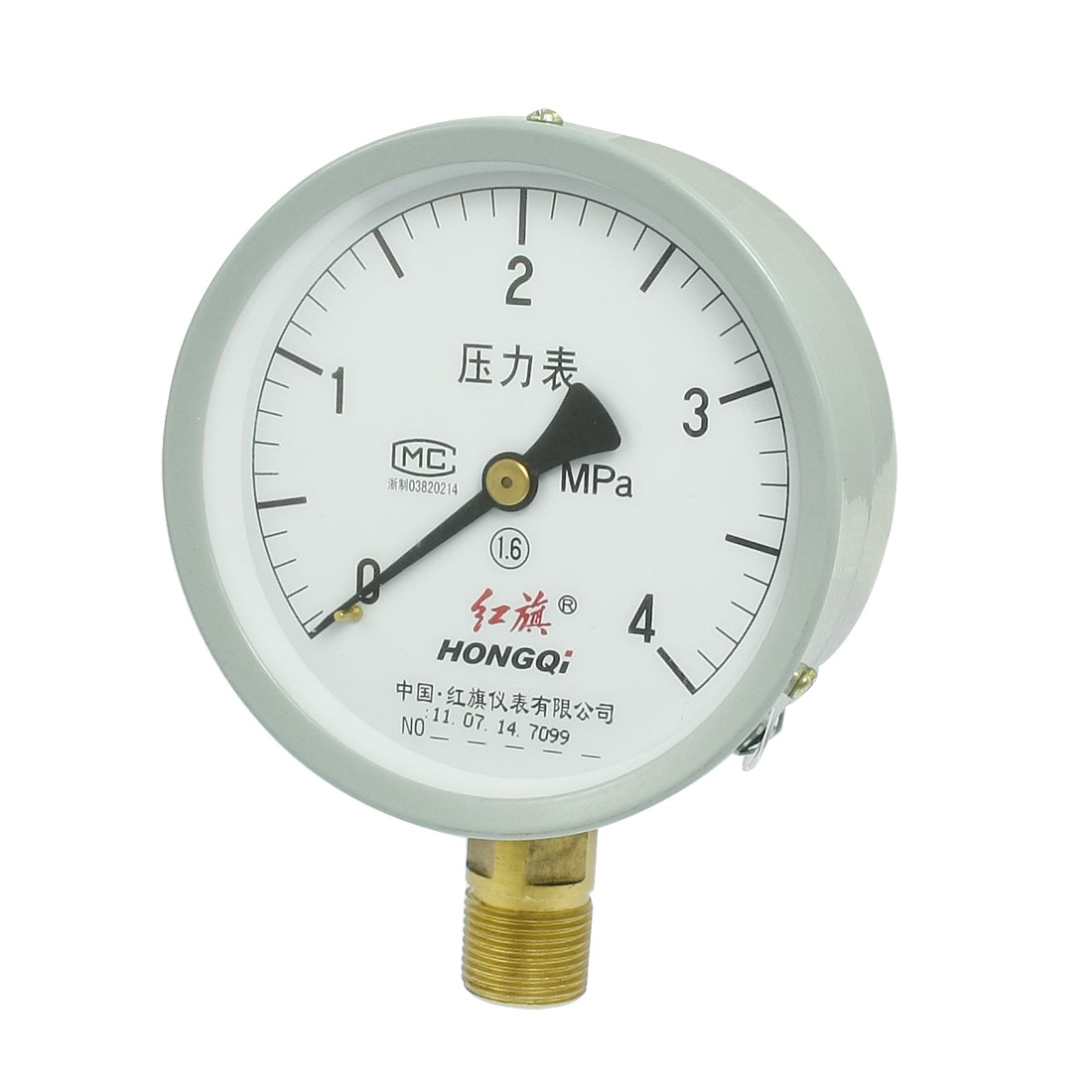 "1/2"" NPT Thread 0-4MPa Round Face Water Air Pressure Gauge"