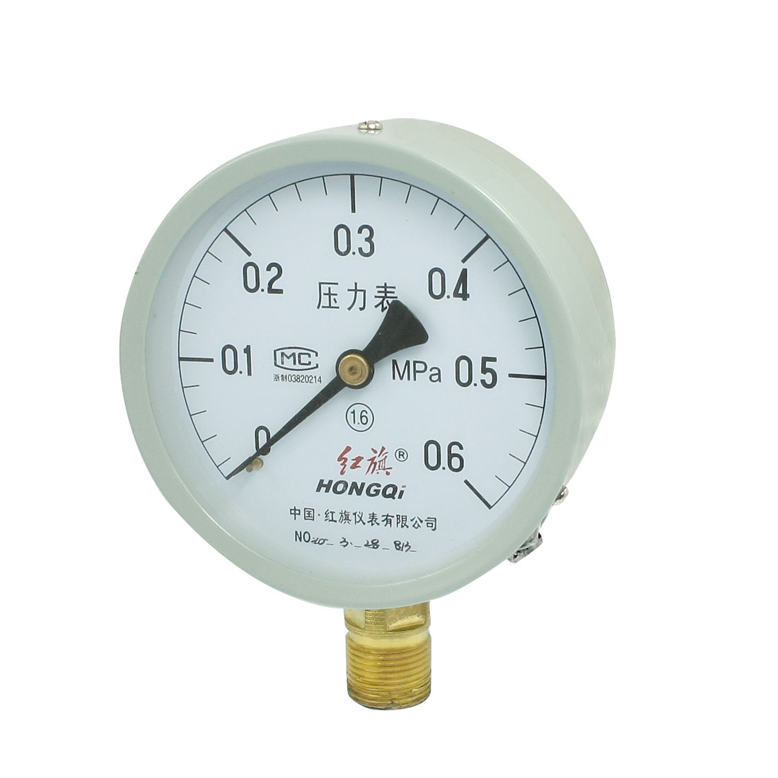 "1/2"" NPT Thread 0-0.6MPa Class 1.6 Round Face Water Air Pressure Gauge"