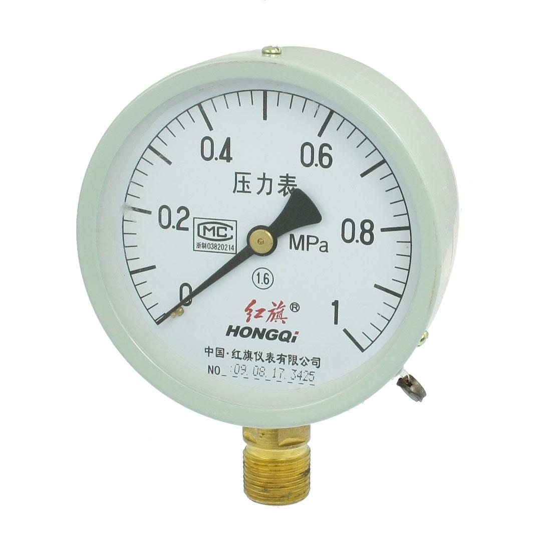"""1/2"""" NPT Thread 0-1MPa Round Face Water Air Pressure Gauge"""