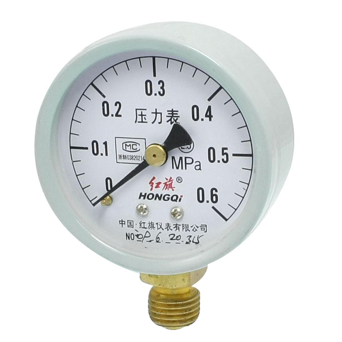 """0-0.6MPa 3/8"""" NPT Thread Round Face Water Air Pressure Gauge"""