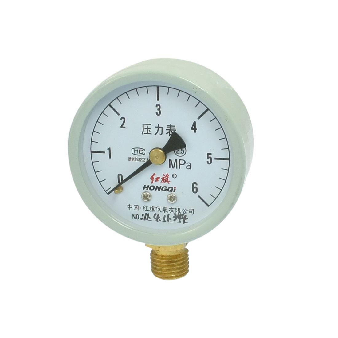 """Round Face 3/8"""" NPT Thread Water Air Pressure Gauge 0-6MPa"""