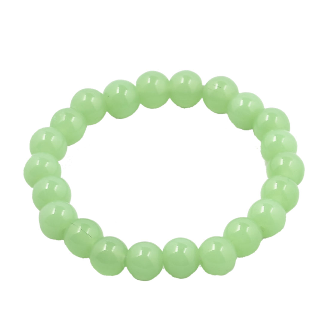 Green Glass 21 Beads Elastic Bracelet Bangle for Ladies
