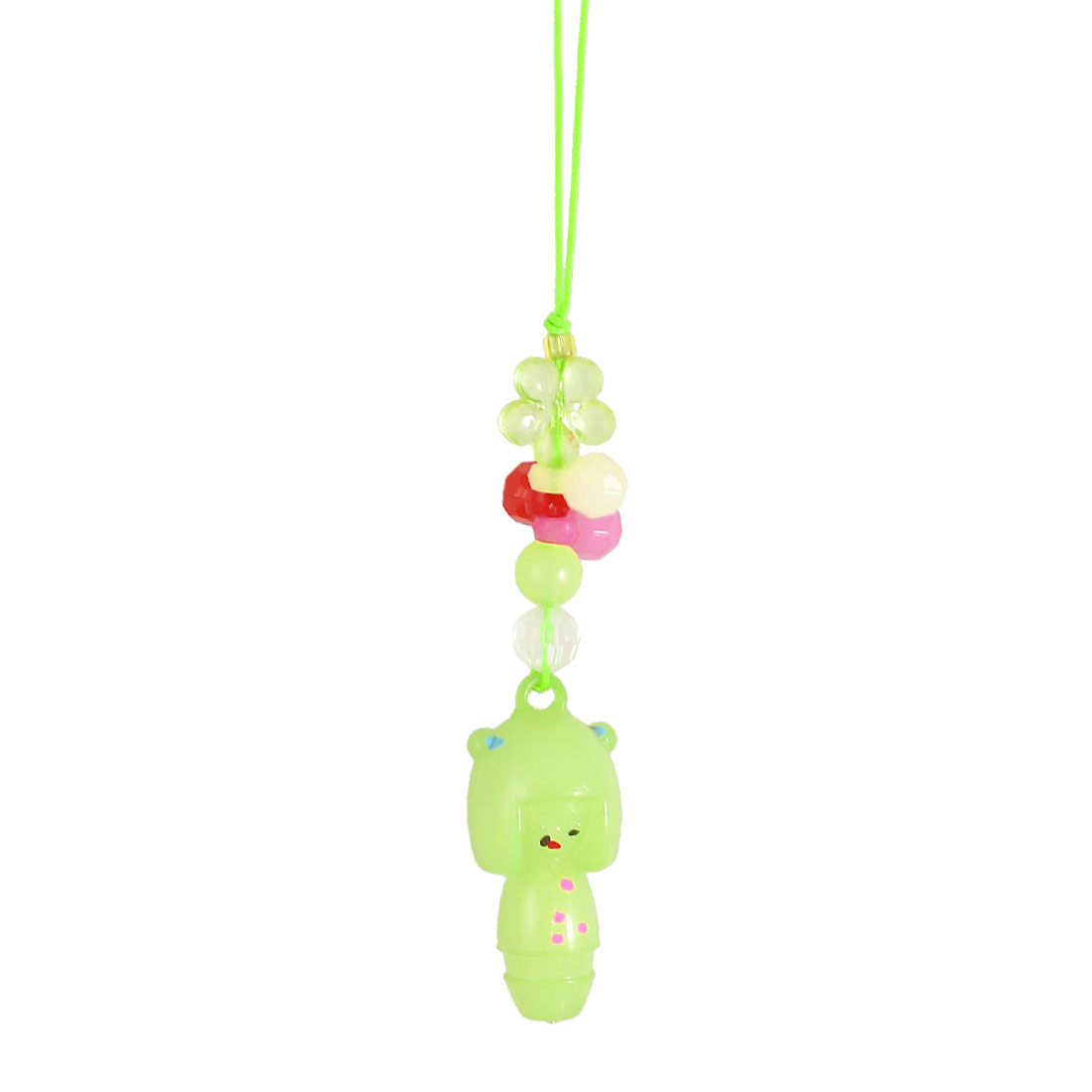 Green Plastic Doll Beaded Pendants Nylon String Cell Phone Charm Strap
