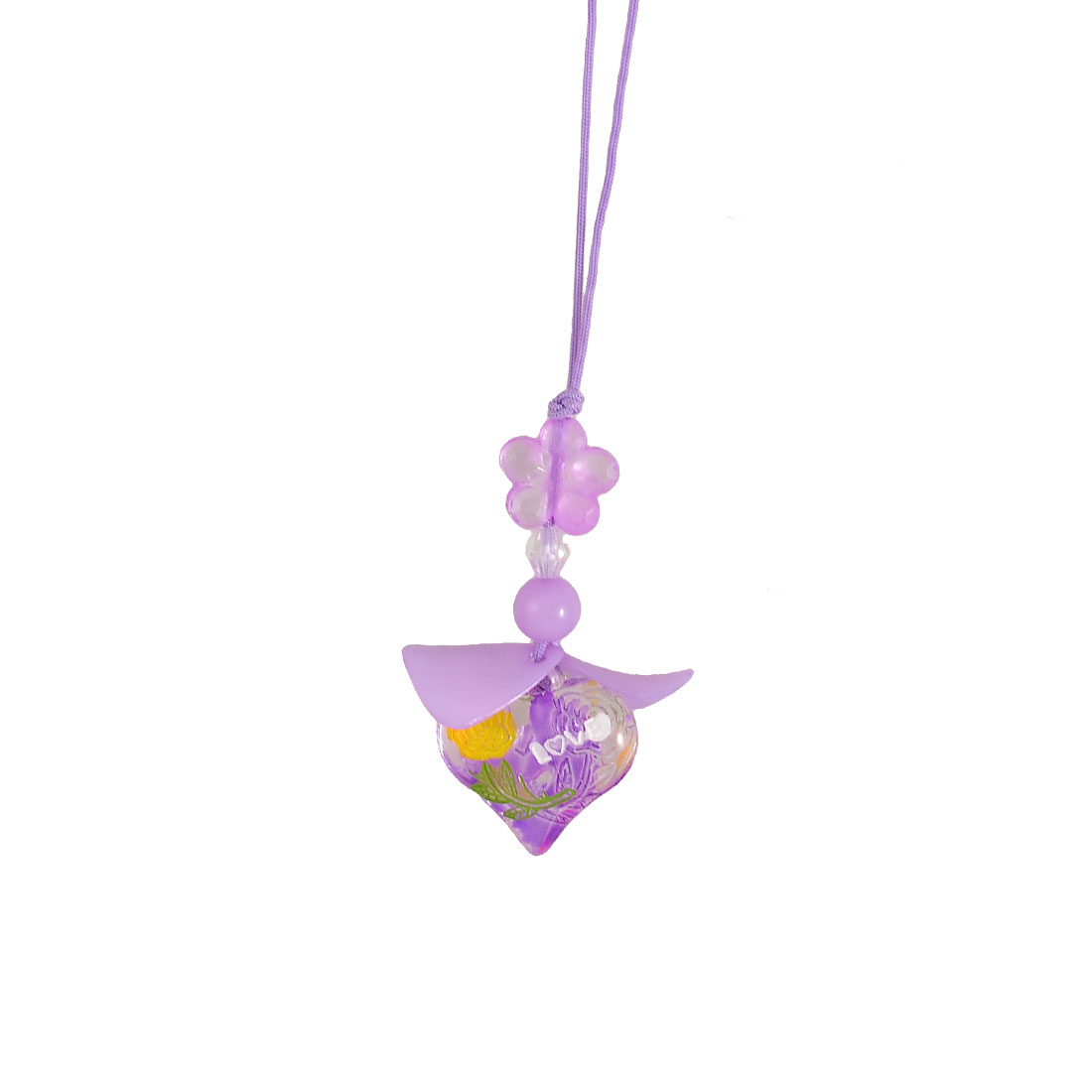 Purple Plastic Bead Leaf Flower Heart Shape Pendants Cell Phone Charm Straps