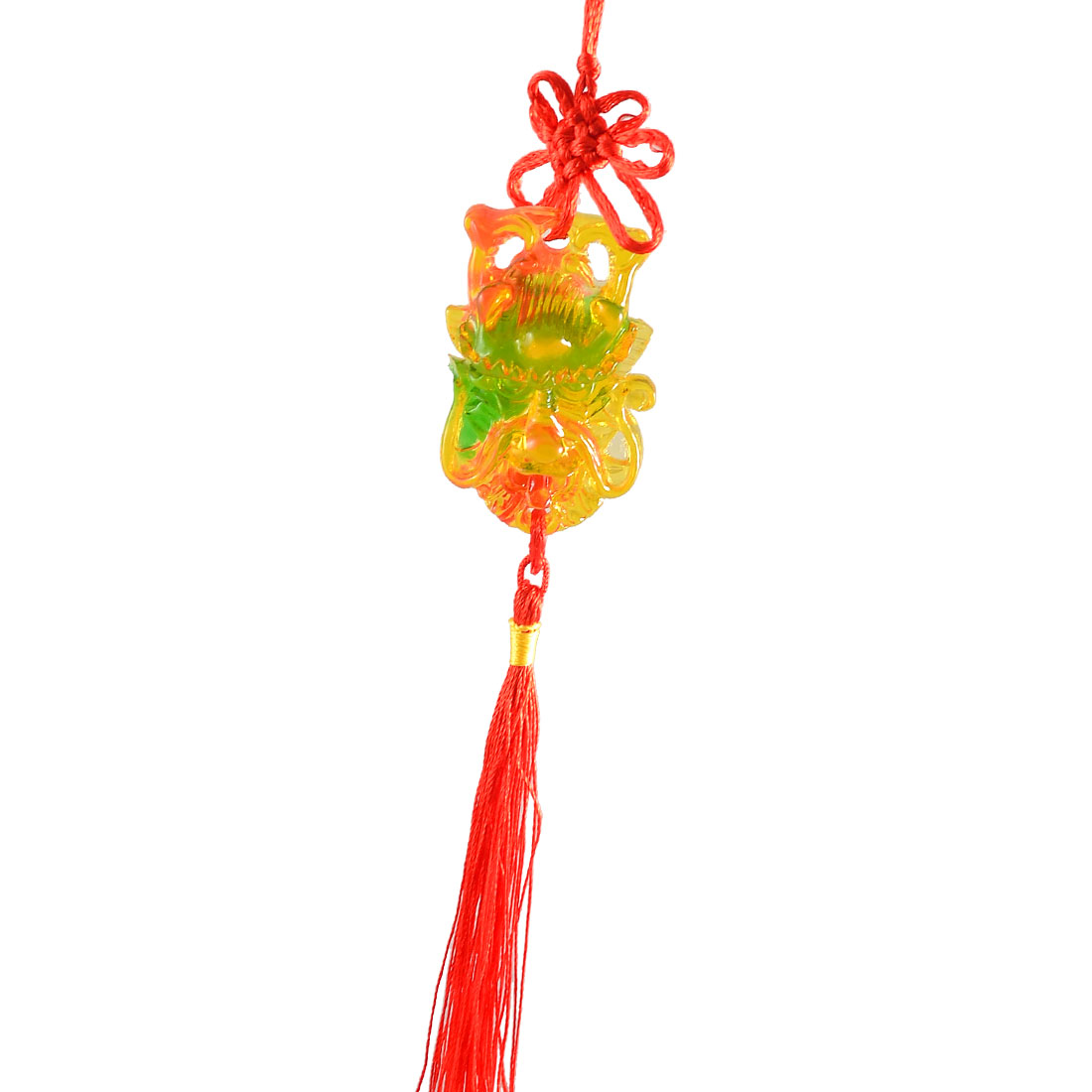 Auto Car Plastic Dragon Head Pendant Red Tassels Chinese Knot Ornament