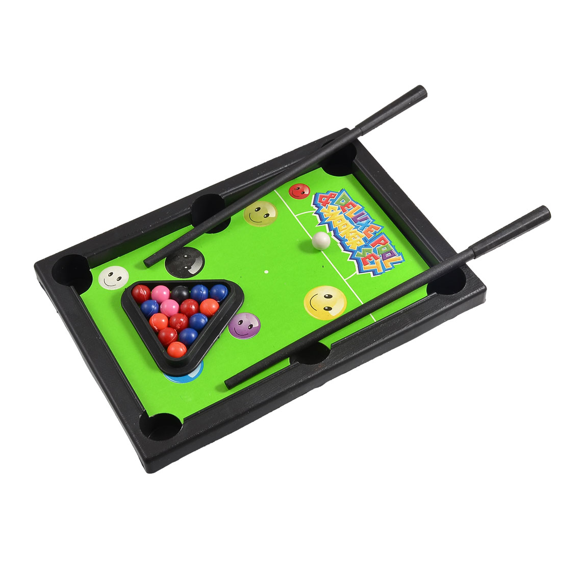 Children Black Plastic Table Snooker Billiards Game Set Toy w Two Pool Cues