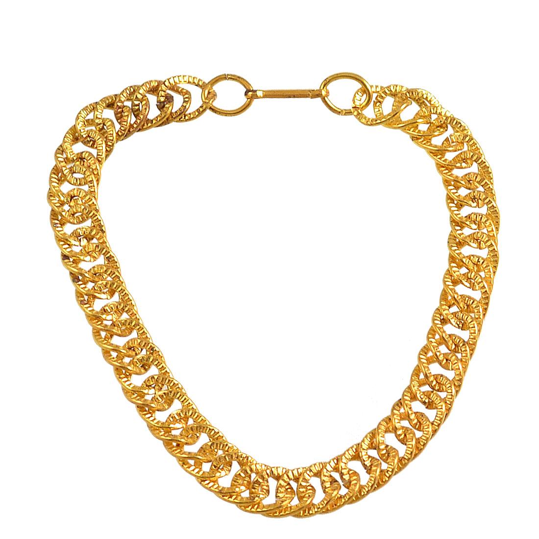 Lady Man Clip Closure Gold Tone Metal Wrist Chain Bracelet Bangle