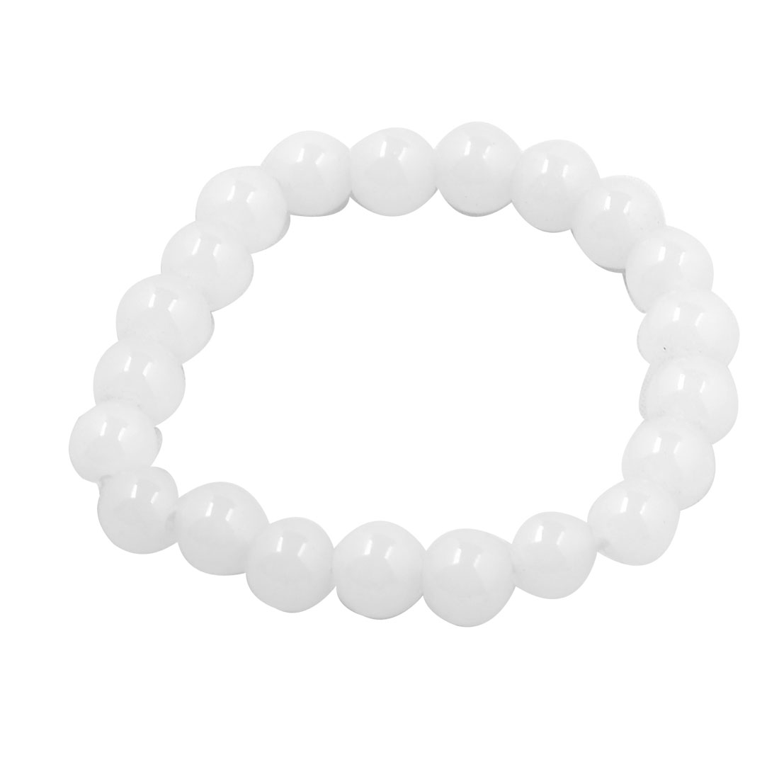 Clear White Glass Plastic 21 Beads Elastic Bracelet Bangle for Ladies