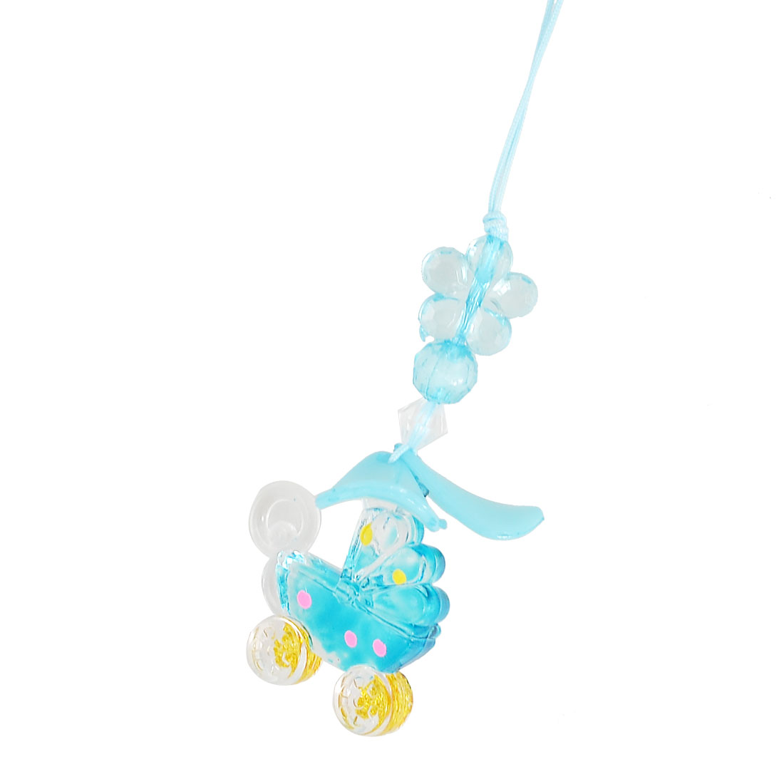 Aqua Blue Plastic Bead Leaf Butterfly Shopping Trolley Pendants Cell Phone Strap