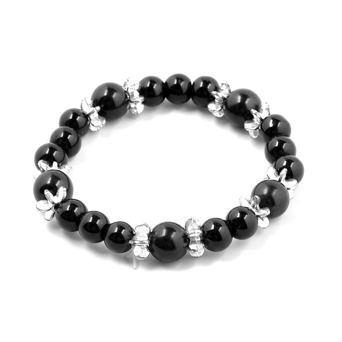 Black Grass Beads Silver Tone Flower Shape Elastic Bracelet Bangle for Ladies