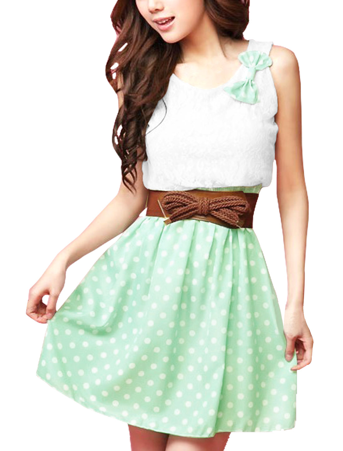 Women Bowknot Detail Scoop Neck Green Dots Print Mini Dress M